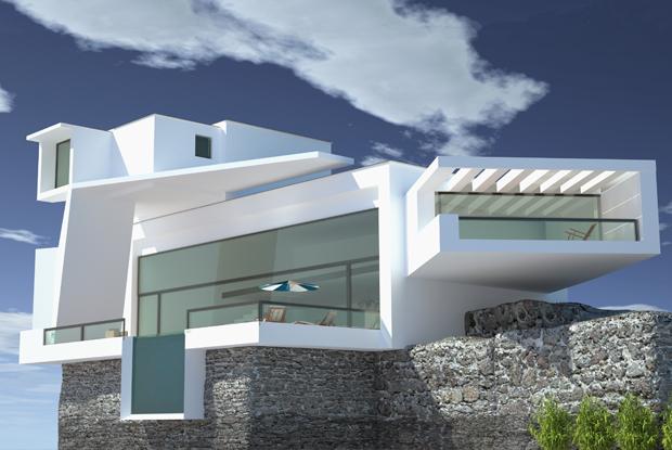Moderne Architektenhäuser Mit Pool ~ moderne Villa mit Glasfassade und Pool auf einer Klippe