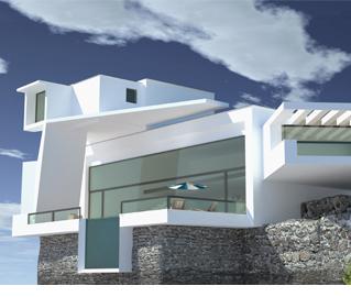 moderne Villa mit Glasfassade und Pool auf einer Klippe